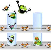 Bakterier flyr från bevis — Stockvektor