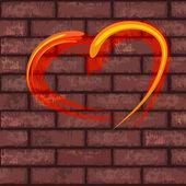 Herz auf ziegelmauer — Stockvektor