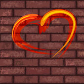 Heart on brick wall — Stock Vector