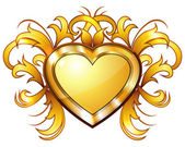 Vintage golden heart — Stock Vector