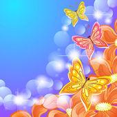 Butterflies and orange flowers — Stock Vector