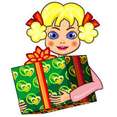 Little girl and gift — Stock Vector