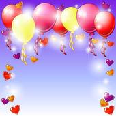 Ballonger och hjärtan — Stockvektor