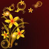 Flores y pájaros — Vector de stock