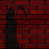 Red brick wall and death — Stock Vector