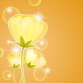 黄色の花を照らす — ストックベクタ