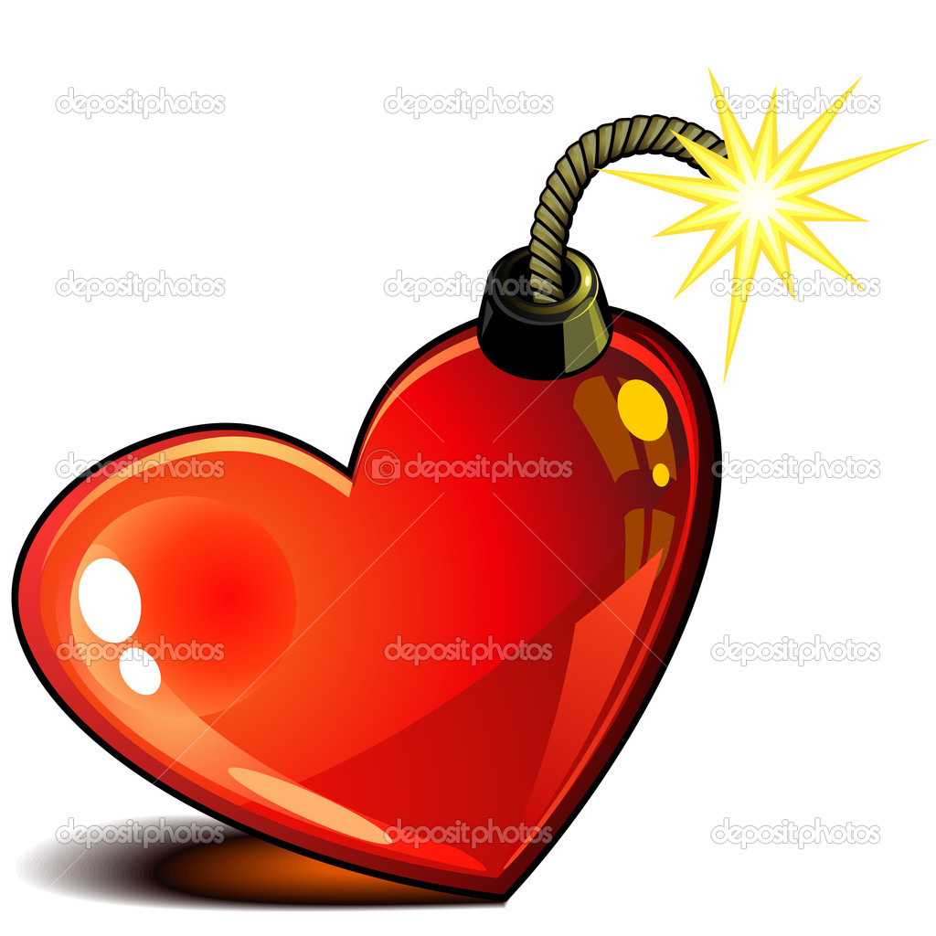 Red glossy heart with burning wick ready to explode — Stok Vektör #13373549