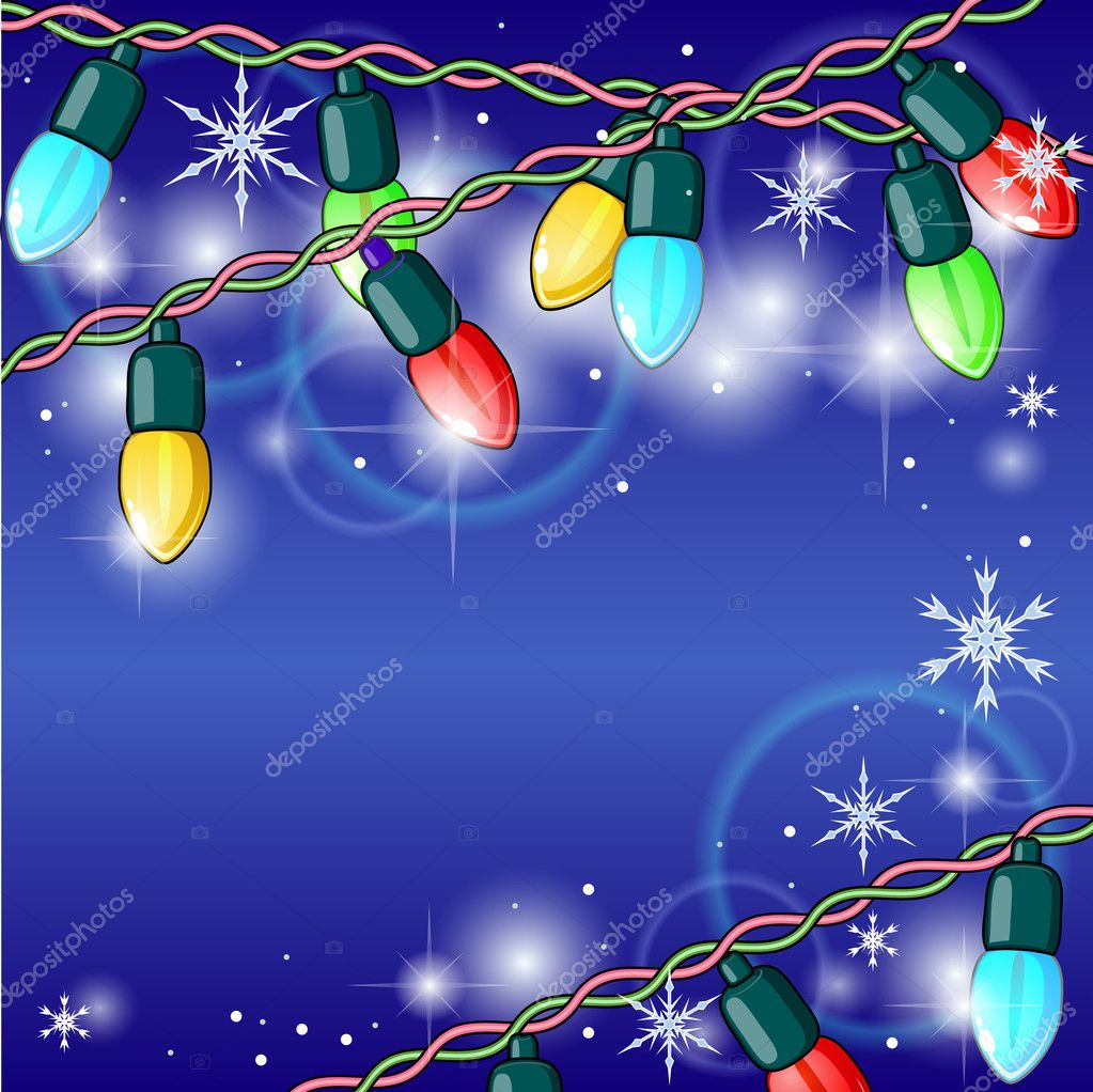 Winter holiday background with shining Christmas lights — Stock Vector #13378604