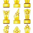 Stock Vector: Nine golden awards