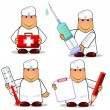 Stock Vector: Four cartoon doctors
