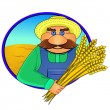 Farmer and wheat ears — Stock Vector