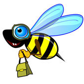 Courier bee or wasp — Stock Vector