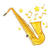 Gold saxophone — Stock Vector