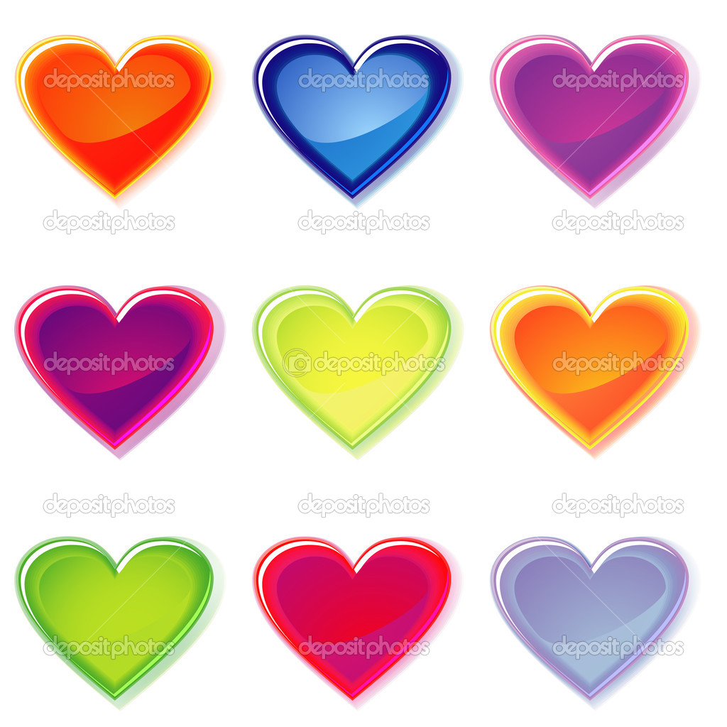 Set of isolated colorful jelly hearts with shadows over white — Stock Vector #13475801