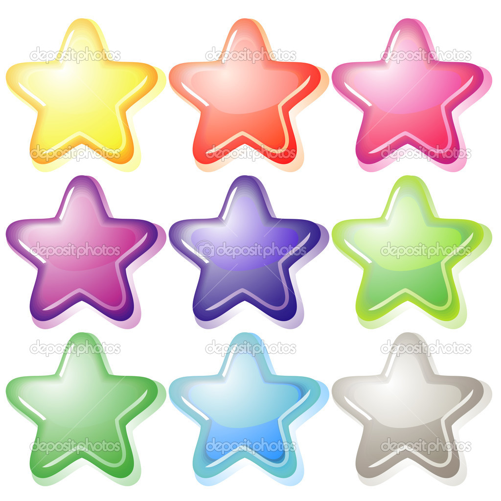 Set of nine soft colorful jelly stars with shadows — Stock Vector #13476817
