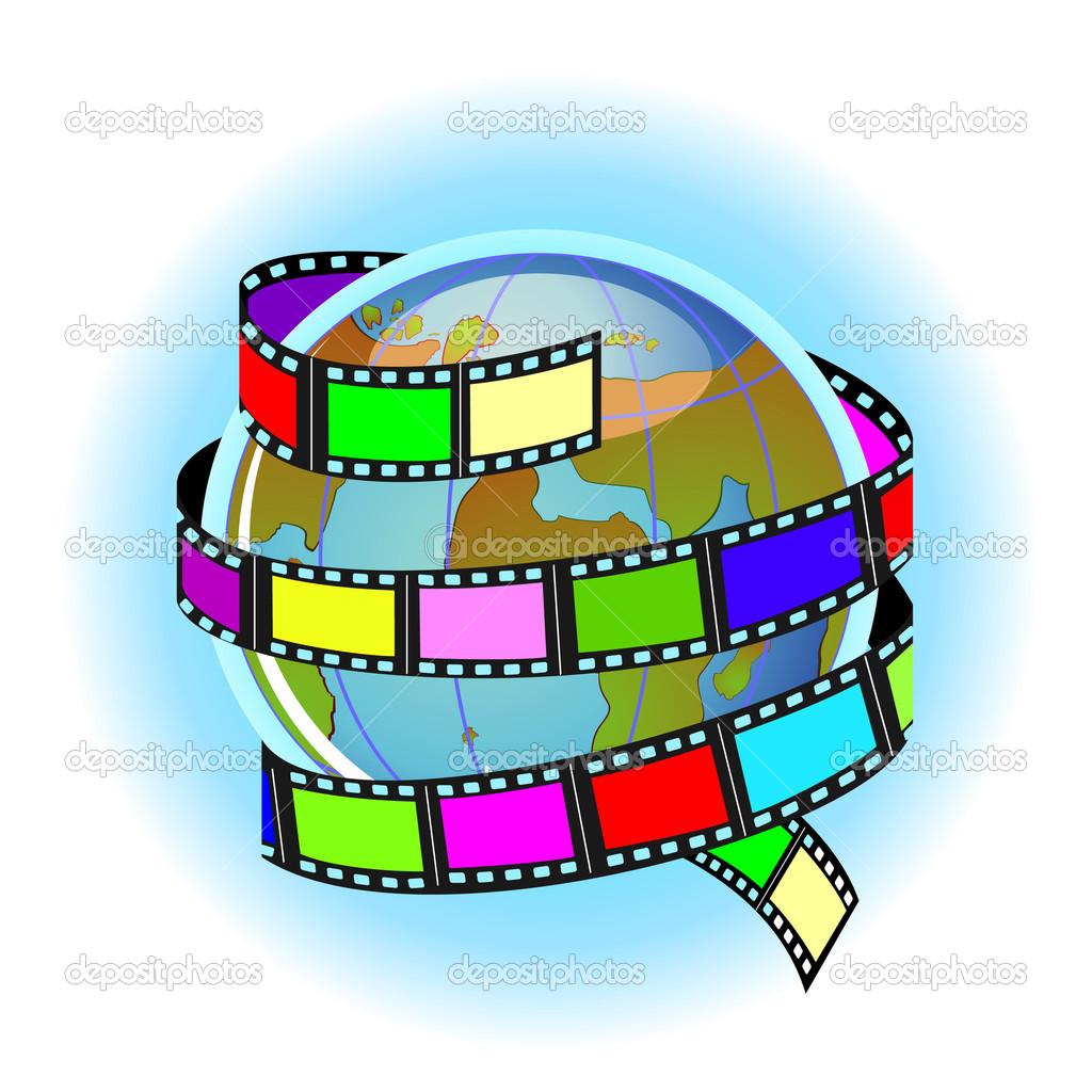 Globe and movie or photo film around   Stock Vector #13477344