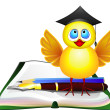 Smart chicken and book - Image vectorielle