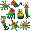 Eight green germs with tentacles — Stock Vector