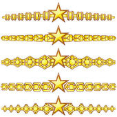Gold dividers with star — Stock Vector