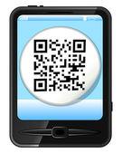 Mobiltelefon med klistermärke med qr-kod — Stockvektor
