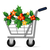 Christmas shopping cart — Stock Vector