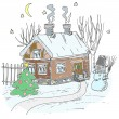 Sketchy Christmas house — Stock Vector