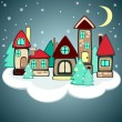 Stock Vector: Christmas houses on the cloud