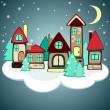 Christmas houses on the cloud — Stock Vector