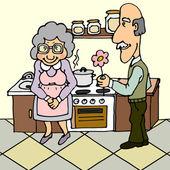 Seniors in love — Stock Vector