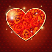 Corazón de rosas — Vector de stock