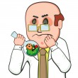 Confused scientist and germ - Stock Vector