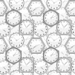Seamless texture with wall clocks — 图库矢量图片