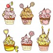 Royalty-Free Stock Vector Image: Six hand drawn cupcakes