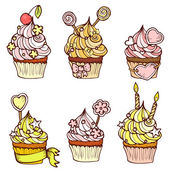 Six hand drawn cupcakes — Stock Vector
