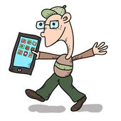 Funny guy with tablet — Stockvector