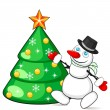 Stock Vector: Snowman decorating Christmas tree
