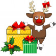 Deer and Christmas gifts — Stock Vector