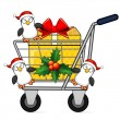 Christmas shopping cart and penguins — Stock Vector