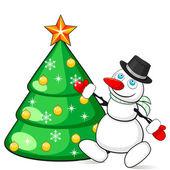 Snowman decorating Christmas tree — Stock Vector