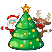 Deer and Santa Claus with Christmas tree — Stock Vector