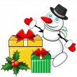 Snowman and Christmas gifts — Stockvectorbeeld