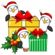 Stock Vector: Penguins and Christmas gifts