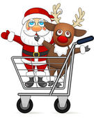 Santa Claus and reindeer in shopping cart — Stock Vector