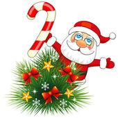 Small fir and Santa Claus — Stock Vector