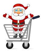 Santa Claus in shopping cart — Stock Vector