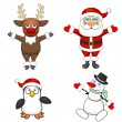 Four Christmas characters — Stock Vector