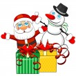 Christmas gifts and Santa Claus with snowman — Stock Vector