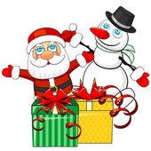 Vánoční dárky a santa claus s sněhulák — Stock vektor