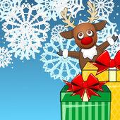Jul bakgrund med renar och presenterar — Stockvektor