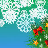 Christmas background with fir and snowflakes — Vector de stock